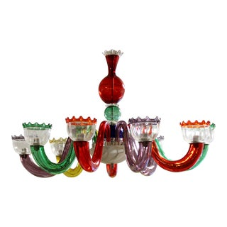 Mid-Century Modern Italian Multicolored Murano Glass Chandelier, Venini For Sale