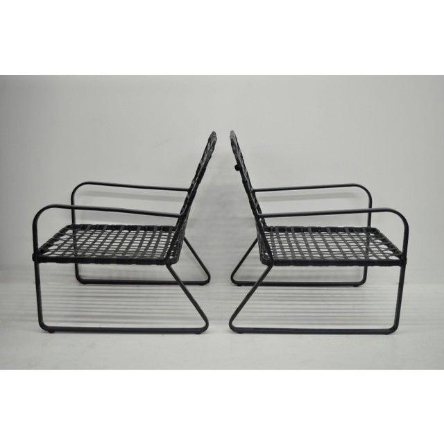 Pair of Brown Jordan Lido Aluminum Vinyl Strap Patio Pool Lounge Chairs Black A - Image 5 of 11
