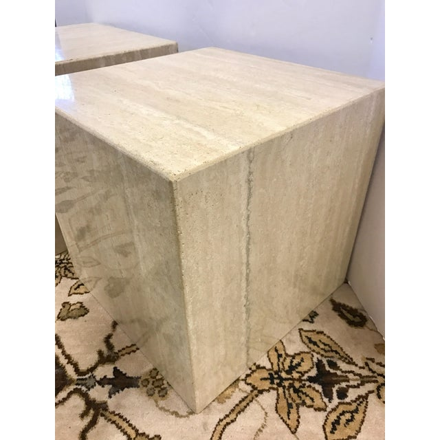 Pair of Midcentury Travertine Cube End Table Stools Italy For Sale In New York - Image 6 of 7