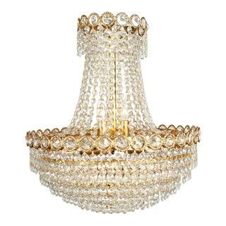 Vintage Crystal Bell Shape Brass Framed Chandelier For Sale