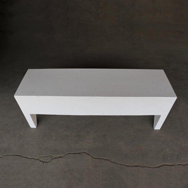 Cast Resin 'Farm' Bench, White Stone Finish by Zachary A. Design For Sale - Image 4 of 8