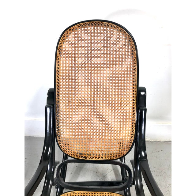 Italian Thonet Style Cane & Wood Rocker in Black For Sale In New York - Image 6 of 11