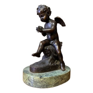 Late 19th Century French Signed Patinated Bronze Cherub on Marble Base For Sale