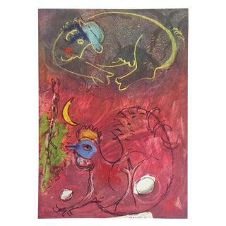 "Marc Chagall Vintage 1947 Rare Limited Edition Lithograph Print "" en Ecoutant Le Coq """