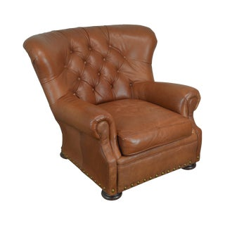 Brown Tufted Leather Writers Club Chair (A) For Sale