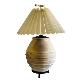 Steve Chase Antique Terra Cotta Vessel Lamp With Pleated Shade and Finial For Sale