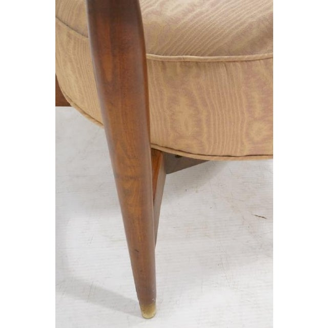 Gold Floating Back Sculptural Modernist Barrel Back Lounge Chair in Tan Moire Fabric Upholstery For Sale - Image 8 of 11