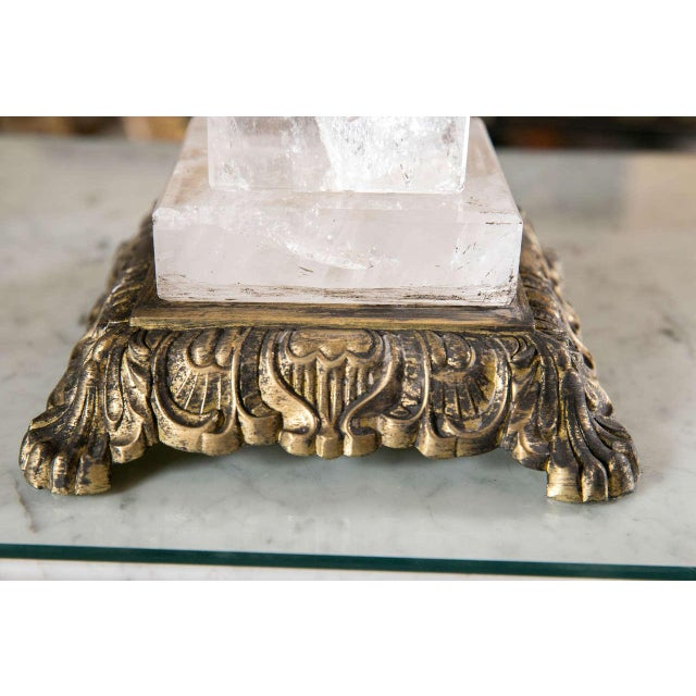 Fine Rock Crystal Single Column Lamp on Bronze Base Hollywood Regency Style For Sale In New York - Image 6 of 7