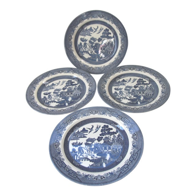 Blue Willow Churchill Dinner Plates - Set of 4 - Image 1 of 4