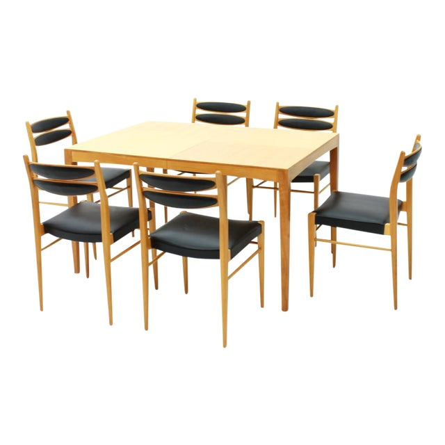 Dining Room Set With Six Chairs in Cherry Wood and Black Leather 1957 For Sale