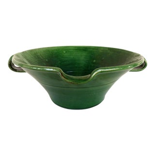 Large Green Glazed French Terracotta Two Handled Vessel W/ Spout For Sale
