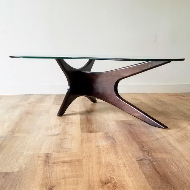 Mid-Century Modern 1960s Adrian Pearsall Model 1465-T Boomerang Walnut Coffee Table, Unmarked For Sale - Image 3 of 13