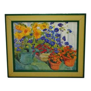 Vintage Framed Elizabeth Berry Floral Still Life Watercolor Print For Sale