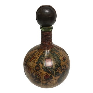Italian Old World Map Leather Decanter