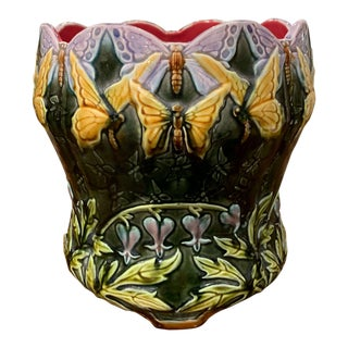 19th Century French Ceramic Barbotine Onnaing Cachepot With Butterfly Decor For Sale