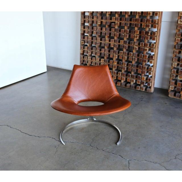 Preben Fabricius & Jørgen Kastholm Scimitar Chairs by Ivan Schlechter in Denmark. circa 1965. Updated leather upholstery.