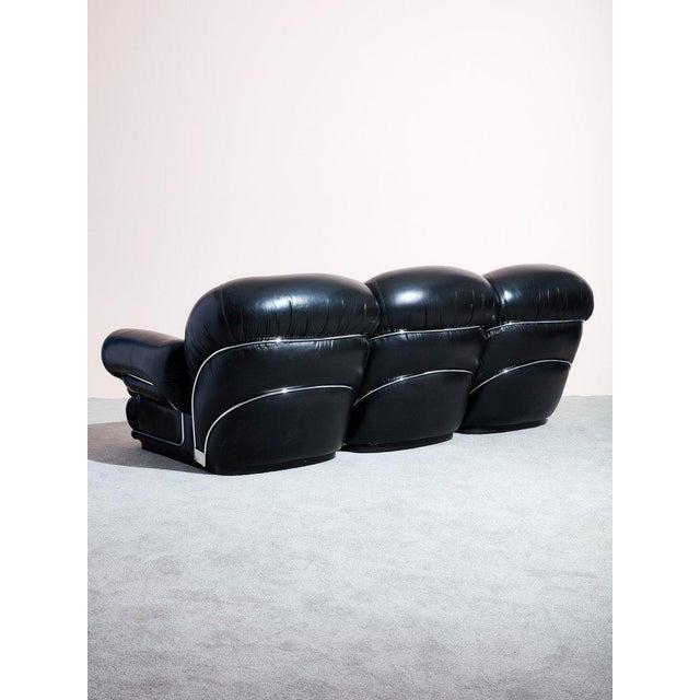 Tobia Scarpa 1970s Italian Black Leather Sofa For Sale - Image 4 of 5