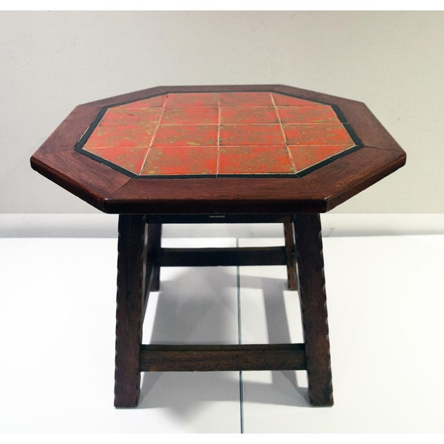 A Monterey/Spanish-style California tile-topped and Mahogany Side Table. The tiles are in perfect condition and are a rich...