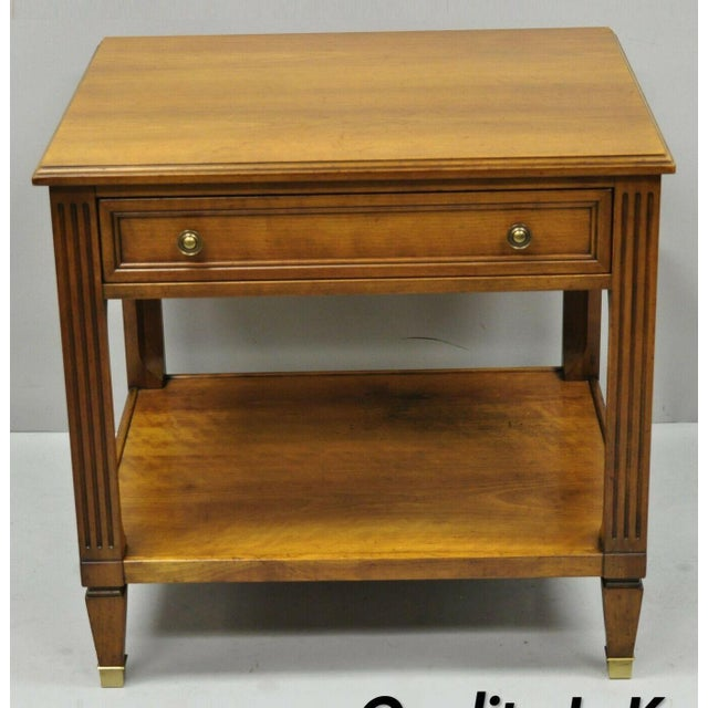 20th Century French Kindel Belvedere 1 Drawer Cherry Lamp Side Table For Sale - Image 12 of 12