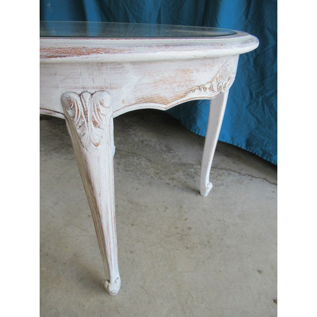 Hand painted and distressed Occasional Table/Small Coffee Table in Annie Sloane light gray finish. Louis XV style with...