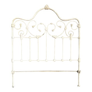 Vintage French Country Shabby Chic Off White Cast Iron Full Headboard For Sale