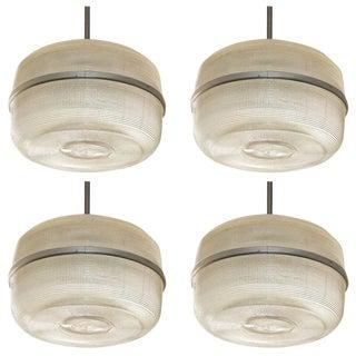 Set of 4 Large Molded Glass Industrial Hanging Lights For Sale