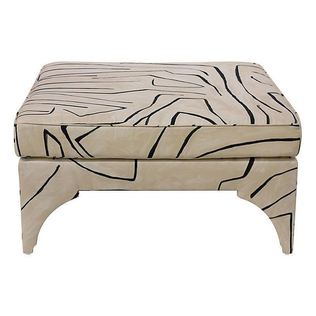 Graffito print pillow-top cocktail ottoman with square pine frame. A gorgeous piece!