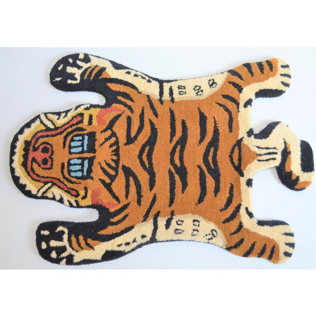 1990s Vintage Tibetan Tiger Hunting Shape Persian Rug- 2′ × 3′ For Sale In Houston - Image 6 of 6
