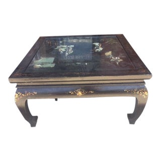 1920s Square Chinese Carved Scene Coffee Table