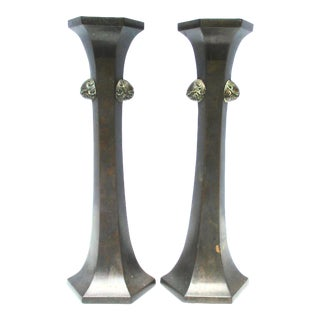 Japanese Bronze Candlesticks - a Pair For Sale