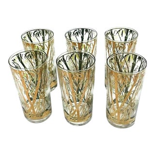 1960s Vintage Gold Gilt Bamboo Patterned Tumblers - Set of 6 For Sale