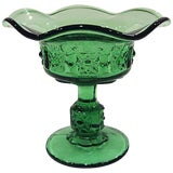 Image of Vintage Mid-Century Green Fluted Candy Dish Compote For Sale