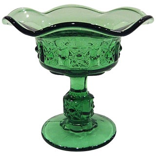 Vintage Mid-Century Green Fluted Candy Dish Compote For Sale