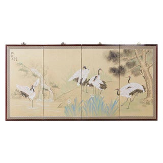 Japanese Four-Panel Screen Red Crowned Cranes For Sale