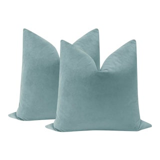"22"" Cerulean Blue Velvet Pillows - A Pair For Sale"