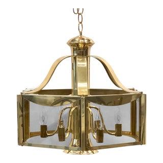1977 Fredrick Ramond Brass Hanging Chandelier For Sale