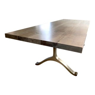 Mid-Century Modern BBDW Walnut and Brass Large Dining Room Table For Sale
