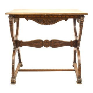 Italian Renaissance Walnut Carved End Table For Sale
