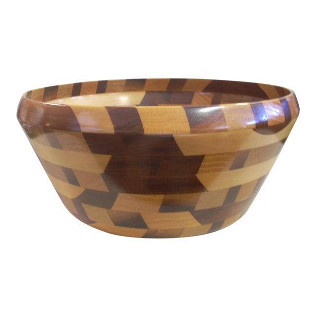 Tom Sullivan Geometric Mixed Wood Salad Bowl For Sale