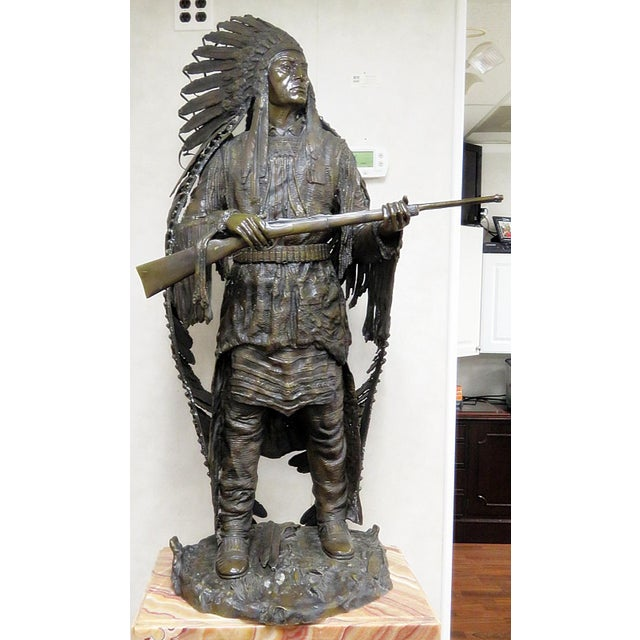 Bronze Indian Sculpture Signed Carl Kauba For Sale - Image 13 of 13
