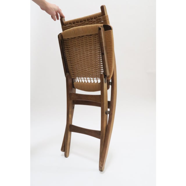 Vintage Danish Modern Rope Folding Chair For Sale - Image 5 of 7