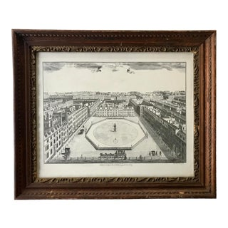 Antique Engraving Print Survey of London by Stow Framed For Sale
