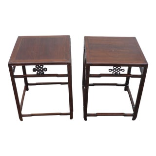 20th Century Chinese Rosewood Low Tables - a Pair For Sale