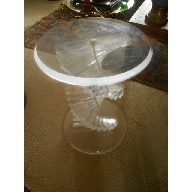 Vintage Lucite Helix Spiral Stacked Block Table Base - Image 7 of 8