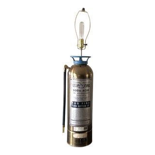 Vintage Acme Fire Brass Fire Extinguisher Lamp For Sale