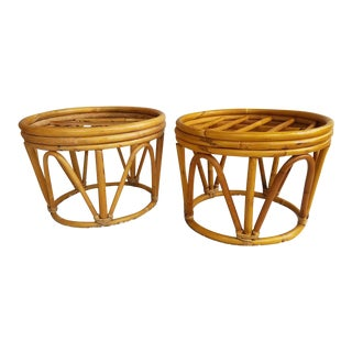 1970s Boho Chic Bamboo Ottomans - A Pair For Sale