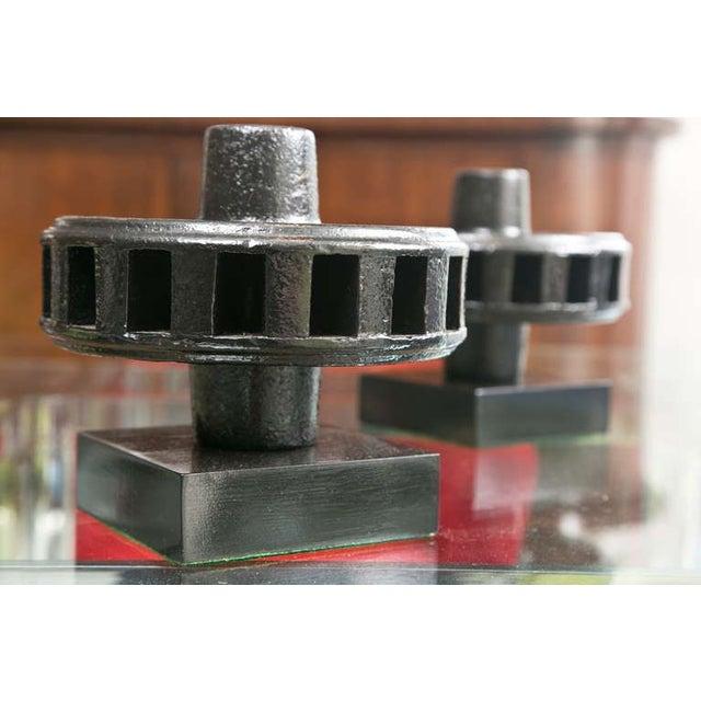 Mid-Century Steel Hub Sculptures - Image 3 of 7