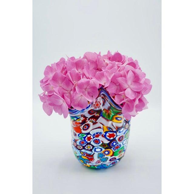 Mid-Century Modern Vintage Murano Millefiori Handkerchief Vase For Sale - Image 3 of 12