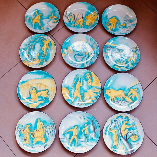 Set of 12 Italian Maiolica Dinner Plates, Painted With Country Life Scenes For Sale - Image 13 of 13