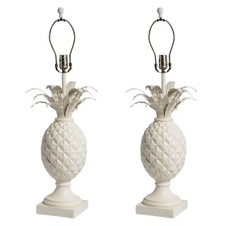 Monumental Vintage Pineapple Table Lamps a Pair